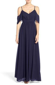 Free shipping and returns on Lulu's Off the Shoulder Chiffon Gown at Nordstrom.com. A dreamy chiffon gown enchants with a double V-neck bodice that's suspended by slender straps and flanked with fluttery short sleeves. An inset waist defines the figure while lavish gathers add soft volume and graceful movement.