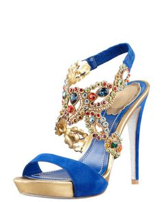 Jeweled Ankle-Wrap Platform Sandal by Rene Caovilla
