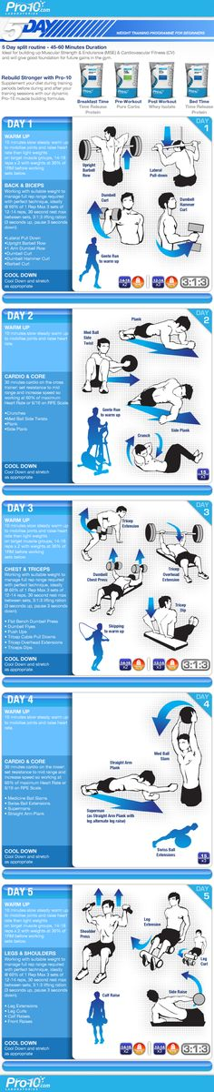 Days 1, 3, & 5 have some great lifts using all of the major muscles.  Each day targets a couple muscle groups.  This kind of workout is good for people who want to tone.