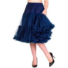 Banned Navy Spodnička k šatům Spodnička ve stylu 50. let. Krásná šifónová spodnička k šatům s kolovou sukní, příjemná a velmi měkká, dokonale pozvedne výraz šatů, bohatý objem, 2 vrstvy a spodní sukně, 100% polyester, krásná modrá barva, délka cca 60 cm, vhodná pro kratší i delší typ šatů (délku lze upravit na cca 55 cm).