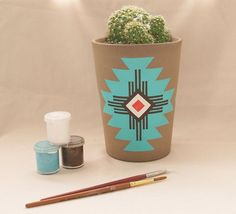 A great Native American inspired hand painted flower pot (or cactus!) #DIY