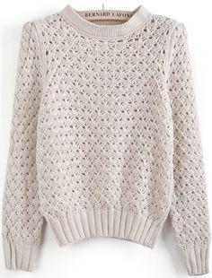 Chandail creusé en tricot -Abricot  EUR€23.03