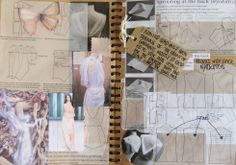 ✏️ Define : Fashion Sketchbook - Student WIP Sketches and Textile Design Process Sketches, Collage, Moodboard - Key Inspirational Sketchbook Pages. Sketchbook Layout, Textiles Sketchbook, Sketchbook Pages, Fashion Sketchbook, Sketchbook Ideas, Sketchbook Drawings, Mise En Page Portfolio Mode, Fashion Portfolio Layout, Fashion Design Sketches