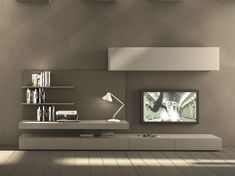 Sectional wall-mounted TV wall system I-modulArt - 277 by Presotto