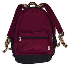 Victoria's Secret PINK Campus Backpack NeW Burgundy with Animal Print Straps. $62.99