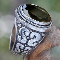 Men's Unique Sterling Silver and Smoky Quartz Ring, Java Shadow Silver Rings Online, Cheap Silver Rings, Sterling Silver Rings, Silver Jewelry, Jewelry Rings, Men's Jewellery, Silver Bracelets, Diamond Jewelry, Silver Earrings