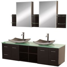 """View the Wyndham Collection WC-WHE007-SH-72 72"""" Avara Wall Mounted Modern Double Vanity Set - Includes Cabinet, Glass or Stone Top, Ceramic or Glass or Stone Vessel Sinks and Medicine Cabinets at FaucetDirect.com."""