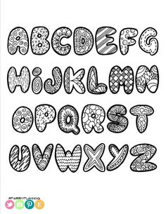 This printable alphabet comes with capital and small letters and a sheet of numbers. Print as many times as you'd like for signs, scrapbooking, planners, coloring sheets for kids and more! You will receive a 3 page PDF that is inches in size (letter Alphabet A, Alphabet Doodle, Doodle Art Name, Doodle Art Letters, Doodle Art Journals, Alphabet Coloring, Printable Alphabet, Graffiti Alphabet, Hand Lettering Fonts