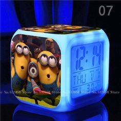 Touch lights Minions despicable me kids Toys 7 Colors Changing Digital Alarmclock
