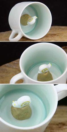 Cute Snail Figurine Ceramic Coffee Cup