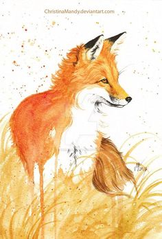 Autumn fox ii by christinamandy on deviantart Watercolor Animals, Watercolor Paintings, Watercolor Fox Tattoos, Art Paintings, Animal Drawings, Cute Drawings, Fox Drawing, Fox Painting, Fox Illustration