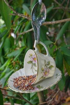 How cute is this teacup and saucer bird feeder?