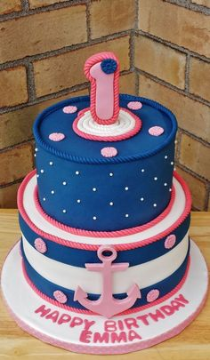 Sailor Girl Birthday Cake - Cake by Enza - Sweet-E … Anchor Birthday Cakes, Anchor Cakes, 1st Birthday Cake For Girls, 2nd Birthday, Cupcakes, Cupcake Cakes, Cupcake Wrappers, Sailor Birthday, Nautical Cake