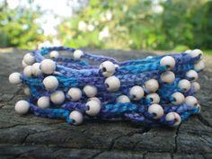 Beaded wrap bracelet Cotton thread necklace Crocheted adjustable anklet Multi wrap bracelet Summer jewelry Boho necklace