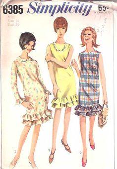 Vintage 1960s 60s Dress Pattern Ruffle Hem Uncut FF 34 bust size 14 Simplicity 6385. $8.00, via Etsy.