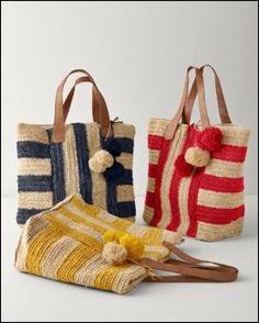 Crochet Bags Ideas Mar Y Sol Havana Raffia Tote - Mexico - Crochet Clutch, Crochet Handbags, Crochet Purses, Crochet Bags, Italian Leather Handbags, Crochet Shell Stitch, Purse Patterns, Crochet Patterns, Knitted Bags
