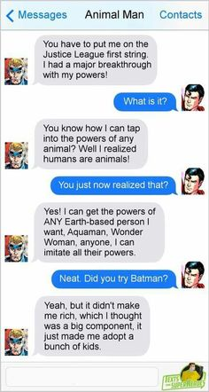 Texts From Superheroes Marvel Jokes, Marvel Funny, Marvel Dc Comics, Funny Comics, Batman Facts, Superhero Texts, Comic Text, Art Jokes, Cartoon Crossovers