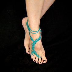The Vine - Tatted Lace Barefoot Sandals - Ocean Teal with Beads. $35.00, via Etsy. LOVE!