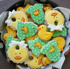baby shower cookies   By Montreal Cookies, green, yellow, bib, duck, onesie