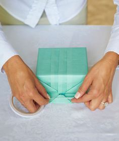How to make gift wrap. Wrapping A Box With Japanese Pleats - Step 10