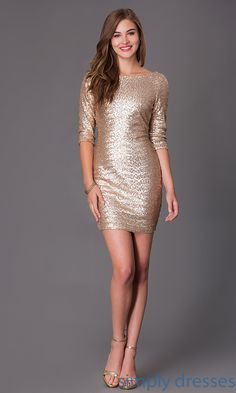 Short Gold Sequin Dress with Half Sleeves-SimplyDresses