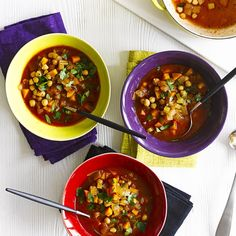 Fiery chickpea and harissa soup A fast-to-make and easy spicy soup made with chickpeas. This vegetarian recipe, gets its heat from harissa, the hot chilli pepper paste from Morocco. Ready quickly in 20 minutes. Vegetable Soup Recipes, Chickpea Recipes, Vegan Recipes Easy, Diet Recipes, Vegetarian Recipes, Vegetable Stock, Vegan Meals, Spicy Soup, British