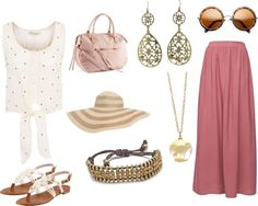 Spring Outfit Ideas: What to wear with a Mauve Maxi Skirt. See more ideas on our blog.