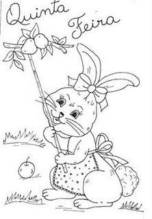 desenho de coelhinha pegando frutas para pintar