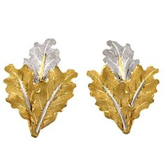 Buccellati Two Color Gold Leaf Earrings   From a unique collection of vintage lever-back earrings at https://www.1stdibs.com/jewelry/earrings/lever-back-earrings/