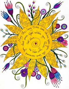 Sat Nam Print Yoga Sun Positive Affirmation by ValerieLorimer-beautiful, one of my especially loved yoga songs ♥ Sun Moon, Stars And Moon, Namaste, Good Day Sunshine, Sun Art, Illustration, Doodles Zentangles, Kundalini Yoga, Kundalini Mantra