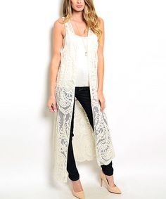 Another great find on #zulily! Beige Lace Sleeveless Open Duster #zulilyfinds