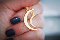 NEW  Moon of My Life Necklace  Large 24k Gold by blackpersimmons, $47.00