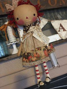 Fall Decor, Holiday Decor, Raggedy Ann And Andy, Rag Dolls, Annie, Primitive, Teddy Bear, Autumn, Christmas Ornaments
