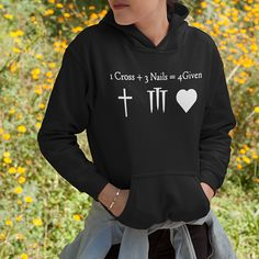 This 1 cross 3 nails 4 given christian hoodies is a best christian gifts for men, christian gifts for women, gifts for husband, gifts for him, gifts for father, gifts for mother, gifts for grandmother, gifts for grandfather and someone you love.