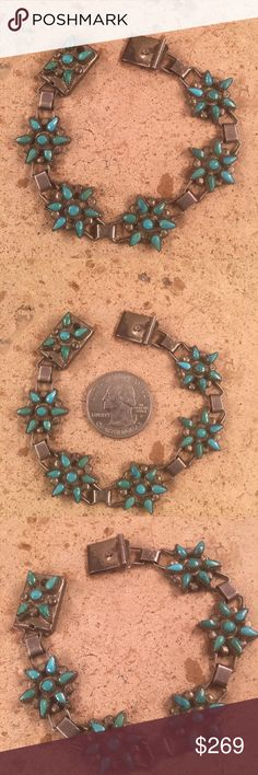 Vintage Zuni Turquoise & Sterling Link Bracelet This is a vintage Zuni Turquoise & Sterling Silver petit Point link bracelet. This bracelet measures 3/4 of an inch wide and 7 inches long. This piece has been tested and is Sterling Silver.   Thank you for looking. Please contact us with any question. Jewelry Bracelets