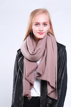 Ladies' thick and warm scarf with soft pleats, by Style Slice, in Taupe Grey. Warm and elegant winter shawl that can be personalised with a charm or a monogram. Suitable as a gift for anniversary, birthday or any day in which to tell the woman in your life, be it a Mum, Wife, Sister or Girlfriend, that she is special. #scarf #shawl #wrap #scarves #fashion #vintage #handmade #acessories #etsy #gift #headwrap #ootd #plaid #pleats
