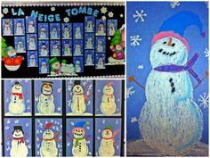 Snowman art...Cutest snowmen in town ❤ (Done using oil pastels)