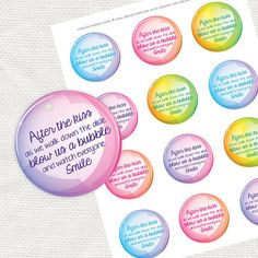 colourful wedding bubble blowing tags diy by idoityourself on Etsy