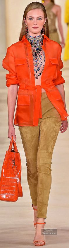 Ralph Lauren ~ Casual Jacket and Pant, Orange/Camel, Spring 2015
