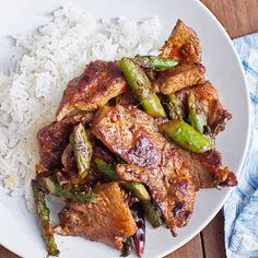 Pork & Asparagus with Chile-Garlic Sauce by Andrew Zimmern from Bizarre Foods Pork Recipes, Wine Recipes, Asian Recipes, Sauce Recipes, Cooking Recipes, Healthy Recipes, Recipies, My Burger, Pork Ham