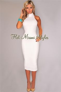 Off-White Textured Mock Neck Midi Dress Womens clothing clothes hot miami styles hotmiamistyles hotmiamistyles.com sexy club wear evening clubwear cocktail party kim kardashian dresses bandage body con bodycon herve l