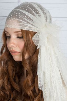 Garbo  Dotted Swiss Juliet Veil Juliet by BlairNadeauMillinery