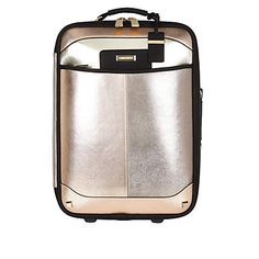 River Island | Mixed metallic split front wheelie suitcase $130.00