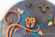 Pagan Owl Earrings  Polymer Clay Owl Flower by DeidreDreams, $50.00
