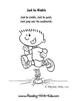 Jack Be Nimble Coloring Sheet #NurseryRhymes