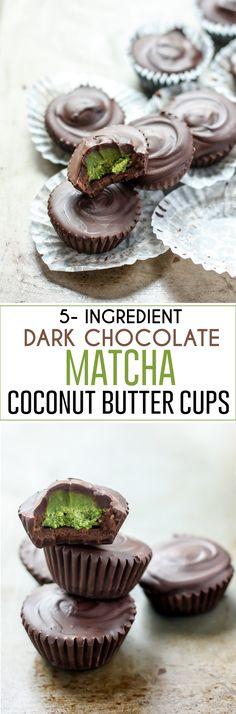 Dark Chocolate Matcha Coconut Butter Cups made using dairy-free chocolate, pure coconut butter, a touch of pure maple syrup, and matcha green tea. Vegan-friendly, decadent and seriously delicious. Healthy dessert and easy dessert for sure Vegan Sweets, Vegan Desserts, Healthy Desserts, Dessert Recipes, Alcoholic Desserts, Healthy Food, Paleo Treats, Frosting Recipes, Vegan Dark Chocolate