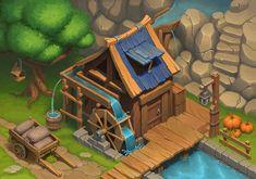Water mill on Behance Isometric Art, Isometric Design, 3d Fantasy, Fantasy Castle, Game Environment, Environment Concept Art, Farm Games, Casual Art, Cartoon House