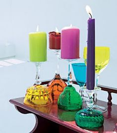 glasses turned upside down to make candle sticks