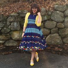 Via Instagram: @inanutshellblog is super cute in her floral stripe Audrey. We love how she's picked out the yellow so pretty. #regram #lindyboplove Shop it at Lindy Bop: bop.li/1kdviSf