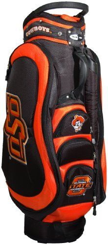 NCAA Oklahoma State Cowboys Medalist Cart Bag by Team Golf. $149.99. External putter well and 3 lift assist handles. Padded strap with strap pouch and fleece-lined valuables pouch. Removable rain hood and umbrella holder and towel ring. 8 location embroidery and 5 zippered pockets. Integrated top handle and 14-way full length dividers. This bag is loaded with features, including integrated top handle, 14-way full length dividers, 8 location embroidery, 5 zippe...